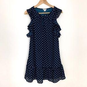 J. Crew Factory Printed Flutter Dress Polka Dot